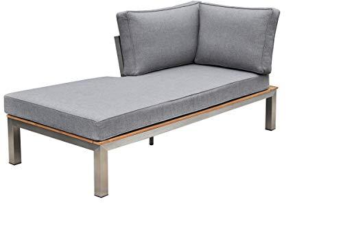 OUTFLEXX Chaiselongue in Silber und grau Edelstahl & FSC-Teakholz & Textil 158x76x64 cm, Gartensofa, Gartencouch und Lounge