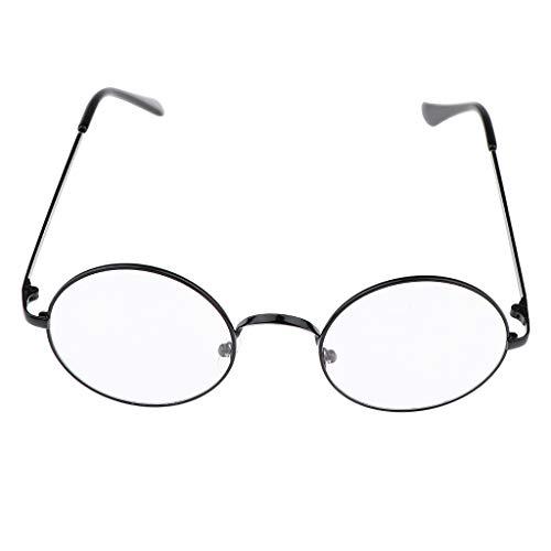 P PRETTYIA klassische Brille Metallgestell Brillenfassung Brille Dekobrillen - Schwarz