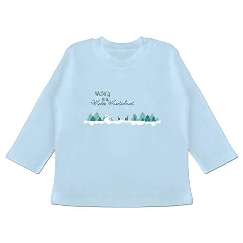 Weihnachten Baby - Walking in a Winter Wonderland Schnee - 3-6 Monate - Babyblau - BZ11 - Baby T-Shirt Langarm