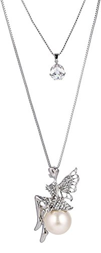 Shining Diva Fashion Long Chain Angel Wings Pendent for Women and Girls (Silver)(rrsd8620np)