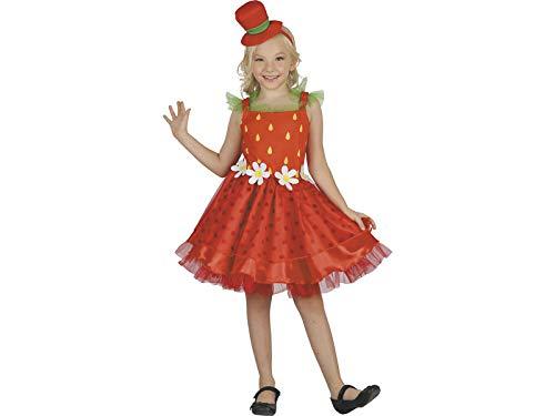 Mädchen Erdbeer Kostüm - DISONIL Kostüm Erdbeere Mädchen Größe S
