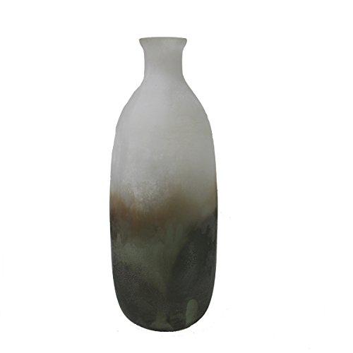 Maharanis Vase mundgeblasen und geätzt jedes Stück ein Unikat matt grün 33 cm