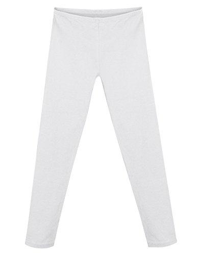 Stretch Leggings f¨¹r M?dchen aus Baumwolle K411_White_XL (Hanes Baumwoll-leggings)