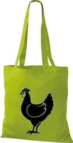 Shirtstown Stoffbeutel Tiere Hahn, Chicken Lime