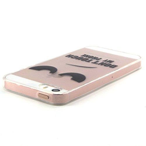 Trumpshop Smartphone Case Coque Housse Etui de Protection pour Apple iPhone 5/5s/SE Série Transparente + Fleur de pêche + Flexible Silicone TPU Anti-rayures Absorption de Choc Don't Touch My Phone