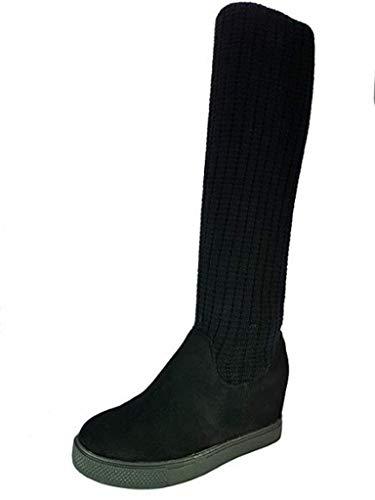 PICCOLI MONELLI Stivali Donna Alti sopra Ginocchio Elasticizzato con Zeppa Interna 3 cm tg 38 Colore Nero