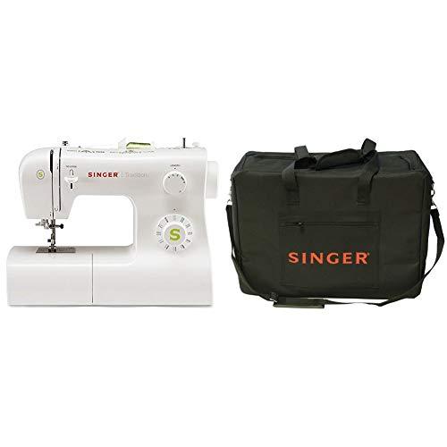 Singer Tradition 2273 - Máquina de coser mecánica, 22 puntadas, color blanco + Funda para máquina de coser, color negro