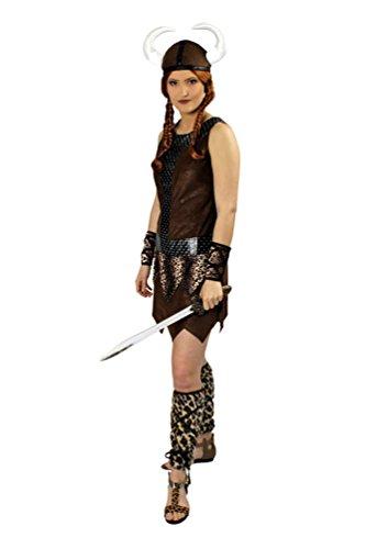 ikinger-Kostüm Damen braun Nordmann-Kostüm mit Wikinger Helm Damen-Kostüm Größe 40/42 ()
