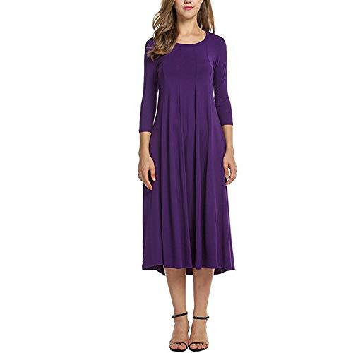 Xmiral Damen Kleid Herbst Halbe Hülse O Ansatz Lose Strand Beiläufiger Rock Damen Elegante Abend Lange Kleider (XL,Violett)