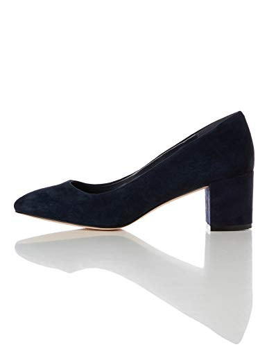find. Round Toe Block Heel Leather Court Scarpe con Tacco, Blu Navy), 38 EU