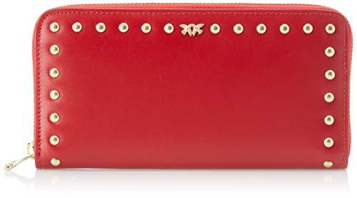 Pinko alchisi wallet zip around l vitello seta, portafoglio donna, rosso (rosso jolly), 2.5x10x20 cm (w x h x l)