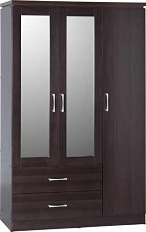 Charles 3 Door 2 Drawer Mirrored Wardrobe in Walnut Effect Veneer