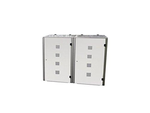 Mülltonnenbox Edelstahl, Modell Eleganza Quad, 120 Liter, Zweierbox, in Weiß RAL 9016