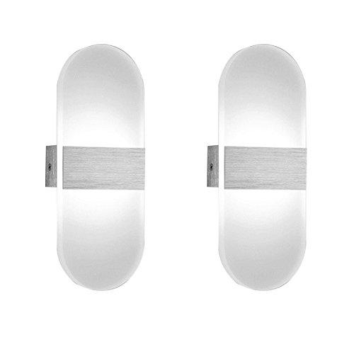 Mctech led applique da parete interno moderno, 2 * 12w lampade da parete ovale bianco freddo, illuminazione in acrilico alluminio impermeabile elegante
