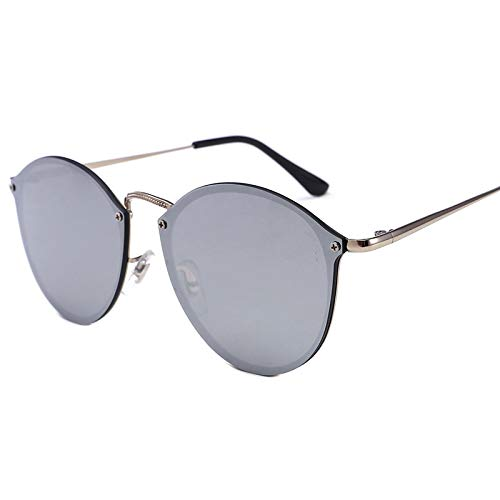 Yangjing-hl occhiali da sole retrò senza cornice con montatura rotonda in metallo occhiali da sole color film occhiali da sole di tendenza moda occhiali da sole argento/compresse di mercurio