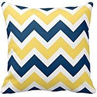 NAVY blau und gelb Chevron ZigZag Muster Quadratisch dekorativer Überwurf-Kissenbezug Kissen Fall Zwei Seiten (50,8x 50,8cm)
