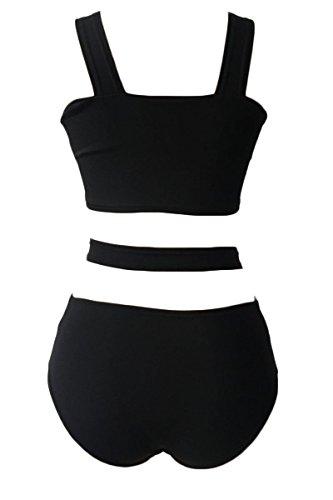 JASIT Damen Push-up Shorts Frauen Bikini-Satz Bandage Design Bademode Beachwear Badeanzug Zweiteilig Schwarz