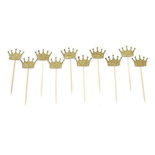 Renaisi Kuchen-Verzierung Gold Crown Cupcake Toppers Prinz Cupcake Toppers Für Geburtstagsfeier Babyparty Hochzeit Party Supplies Kuchen Dekoration 50er Pack Geschenk verkleiden Sich (Mittelstücke Die Partei Für)