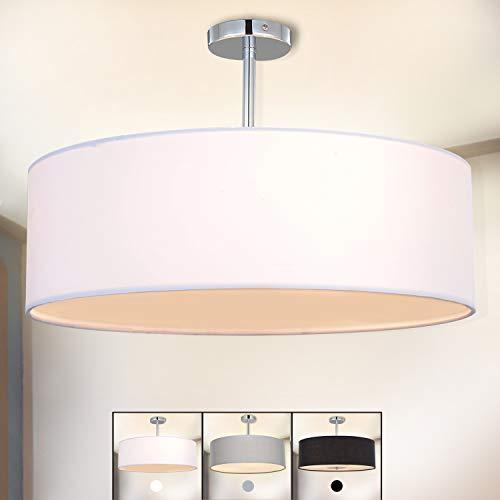Deckenleuchte, SPARKSOR Stoff Deckenlampe, Weiß Rund Pendelleuchte für Wohnzimmer Schlafzimmer Küche Esszimmer, Durchmesser 45cm, Chrom matt, Warmweiss 3-flammig E27