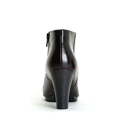ALESYA by Scarpe&Scarpe - Stiefeletten mit Absatz und Military-Sohle, Leder, mit Absätzen 8 cm Schwarz