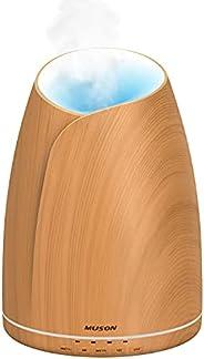جهاز توزيع روائح الزيوت العطرية مع أصوات مهدئة و7 أضواء ملونة للمزاج، غلق ذاتي (حبوب خشبية، شكل زهرية) من موسو