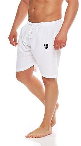 Gennadi Hoppe Herren Badeshorts Badehose Beach Shorts Schwimmshort (L, weiß)