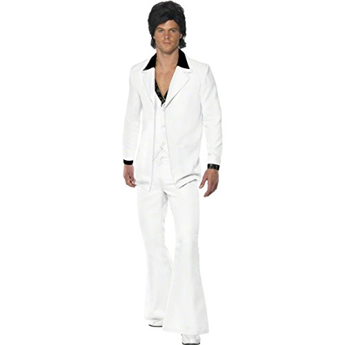 70er 80er Jahre Outfit Saturday Night Fever Kostüm Weiß L 52/54 Star Kostüm John Travolta Kostüm Disco ()