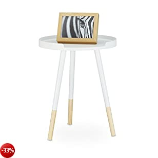 Relaxdays 10020984 Tavolino da Salotto, Design Scandinavo, Bordo Rialzato, Anni '70, 3 Gambe HxLxP: 49 x 40 x 40 cm, Bianco