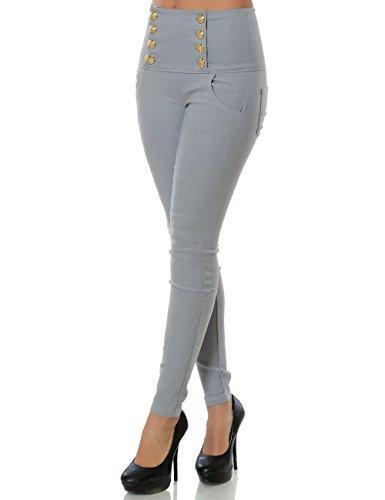 Damen Hose Skinny Hochschnitt (Röhre weitere Farben) No 15505 Grau