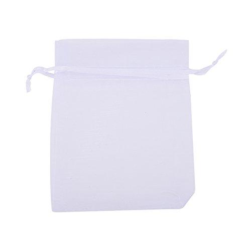 100 Stück 9cm x12cm Organza Organzabeutel Geschenk beutel Organzasäckchen weißer Seidentasche (12 Stück Geschenk)