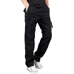 Elonglin Hommes Coton Cargo Pantalons Multipoches Style Militaire Pantalon de Travail Pantalons de Combat Noir FR 36-38 (Asie M)