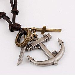 NECCLECS Halskette Halskette Neue Halskette Anker Männer Und Frauen Lange Leder Halskette, Antikes Silber - Männer Hawaii Halskette Für