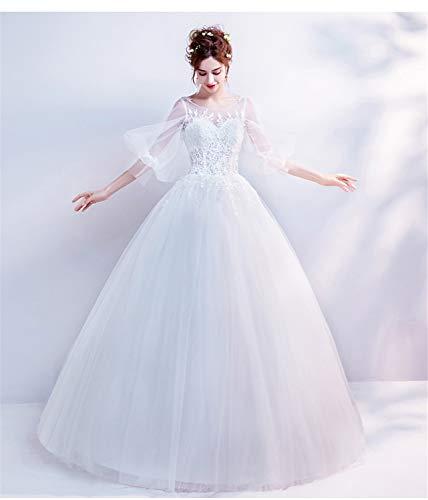 LYJFSZ-7 Hochzeitskleid,Tüll Bodenlangen, Leichte Spitzenärmel, Runde Prinzessin Stil, Hochzeit Bankett Kleid Weiß Brautkleid,
