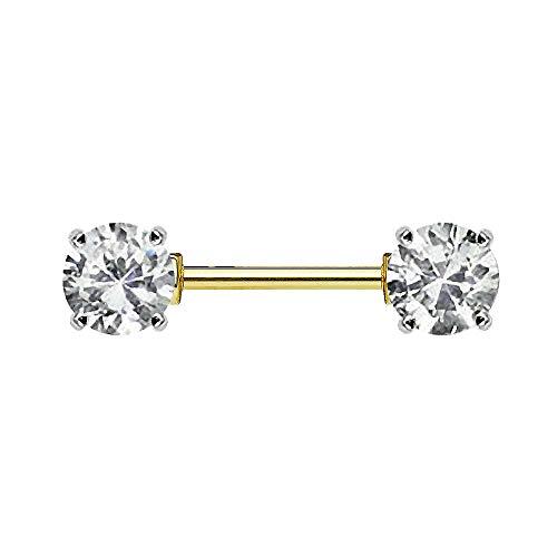 Piersando Brustwarzen Piercing Intimpiercing Nippelpiercing Brust Nippel Intim Brustwarzenpiercing Barbell mit Doppel Kristall Kugel 14mm Gold Clear