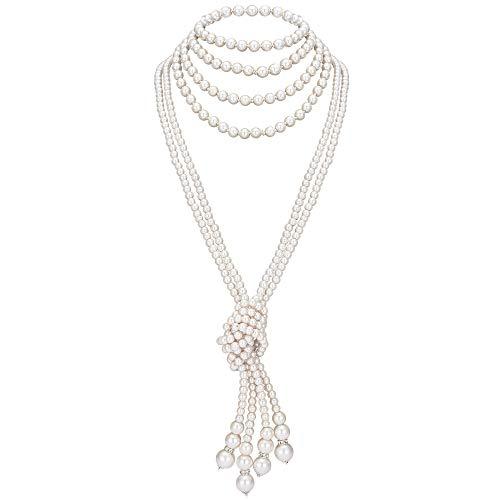 ArtiDeco Gatsby Collar de Perlas Largo con Nudo Vintage 1920 Flapper Accesorios Perlas de Imitación Collar de Perlas con Nudo 49' 59'