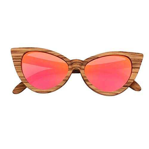 Bamboo Glasses UV400 Pink Yellow Cat Eyes Damen Sonnenbrille Zebra Butterfly Shaped Polarized Sonnenbrille Accessoires (Farbe : Pink)