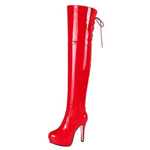 Artfaerie Damen Lack Stiefel Overknee Plateau Stiletto High Heels Langschaft Boots mit Reissverschluss 12cm Absatz