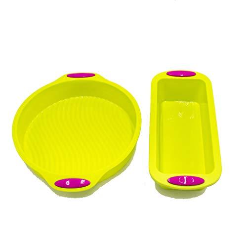 SunRay Backen Werkzeuge Silikon - 9 - Zoll - Runde Kuchenform 2 Stück Toast Mit Ohren, Farbe
