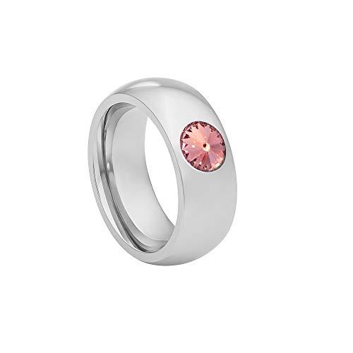 Heideman Ring Damen Coma 8 aus Edelstahl Silber farbend poliert Damenring für Frauen mit Swarovski Stein Kristall Light Rose pink im Fantasie Edelsteinschliff 6mm
