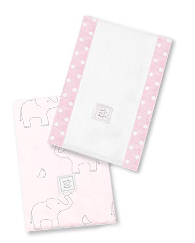 SwaddleDesigns Paños de Bebé, Elefantes plata deco, Rosa claro, Set de 2