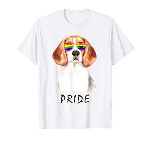 Beagle Sonnenbrille Pride LGBT Regenbogen Flagge T-Shirt