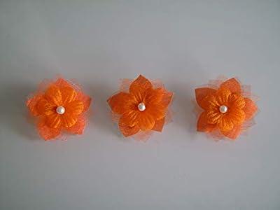 Lot 3 Barrettes Fleur tissu enfant fille pince cheveux Orange Blanc Ivoire (courts détachés) Perle Fleur Mariée Mariage Soirée Cérémonie Coktail Danse classique pas cher