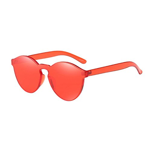 Covermason Damen Bunte Transparente Runde Retro Sonnenbrille (Rot)