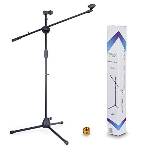 Heldenklang® Mikrofonständer für 2 Mikrofone - Mit Schwenkarm, 2 Mikrofonklemmen und Adapter - Extra großer Tripod Standfuß für einen stabilen Stand