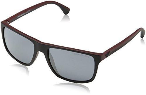 Sonnenbrille Top (Emporio Armani Unisex-Erwachsene Sonnenbrille 4033, Schwarz (Top Black On Bordeaux 56146g), 56)