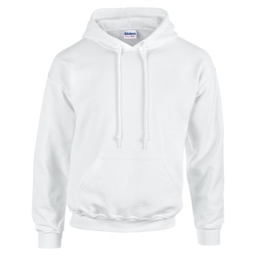 Gildan Hooded Sweatshirt Heavy Blend Plain Hoodie Pullover Hoody White L