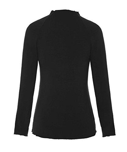 ReliBeauty Donne Manica lunga Solido T-shirt Di Base Tee Tinta Unita Tops collo a lupetto manica Raglan Nero