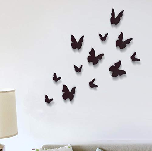 WALPLUS - 12 Stück 3D Schwarze Schmetterlinge Wand Sticker Heim Dekoration (Wand Papier Dekoration 3d)