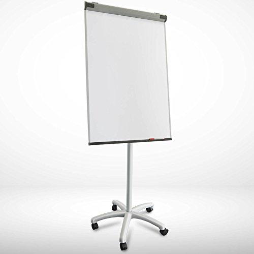 Lavagna magnetica scrivibile - doppia funzione | fogli mobili con porta-blocco | base con rotelle bloccabili e altezza regolabile fino a 225 cm | pirania