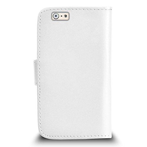 """Apple iPhone 6 (4.7 """"pouces) Premium Leather Blanc Wallet flip écran Housse Pouch + rétractable tactile Stylet + Protecteur & Chiffon PAR SHUKAN®, (BLANC) Blanc"""